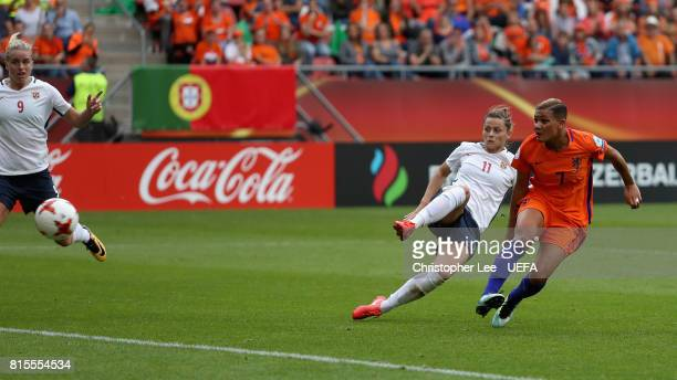 Shanice van de Sanden of the Netherlands scores her sides first goal during the Group A match between Netherlands and Norway during the UEFA Women's...