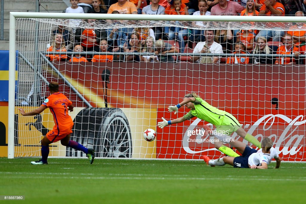Shanice van de Sanden of the Netherlands ((L) scores the first goal against Ingrid Hjelmseth of Norway during the UEFA Women's Euro 2017 Group A match between Netherlands and Norway at Stadion Galgenwaard on July 16, 2017 in Utrecht, Netherlands.