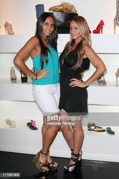Shaniece Lozada and Evelyn Lozada are seen at Dulce Shoe Boutique on May 6 2010 in Coral Gables Florida