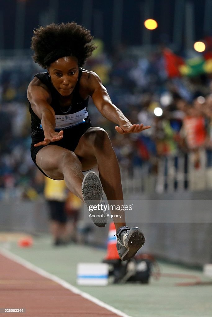 Shanieka Thomas of Jamaica competes in the women's triple jump event at the Diamond League athletics competition at the Qatars Sports Club Stadium in Doha on May 6, 2016.