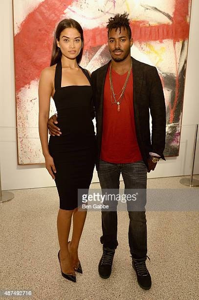 Shanina Shaik and DJ Ruckus attend the 'Patrick Demarchelier' special exhibition preview to celebrate NYFW The Shows for Spring 2016 at Christie's on...