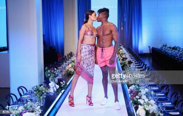 Shanina Shaik and DJ Ruckus kiss on the runway during rehearsals ahead of the David Jones Spring Summer 2017 Collections Launch at David Jones...