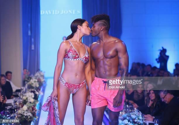 Shanina Shaik and DJ Ruckus kiss on the runway during the David Jones Spring Summer 2017 Collections Launch at David Jones Elizabeth Street Store on...