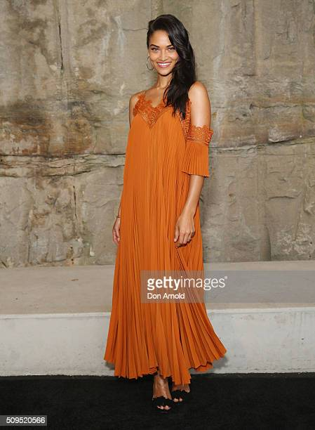 Shanina Shaik arrives ahead of the Myer AW16 Fashion Launch at Barangaroo Reserve on February 11 2016 in Sydney Australia