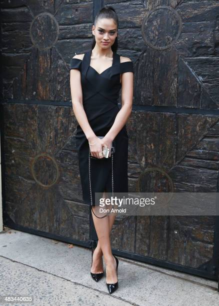 Shanina Shaik arrives for the Dion Lee show during MercedesBenz Fashion Week Australia 2014 at 7 Danks Street Waterloo on April 9 2014 in Sydney...