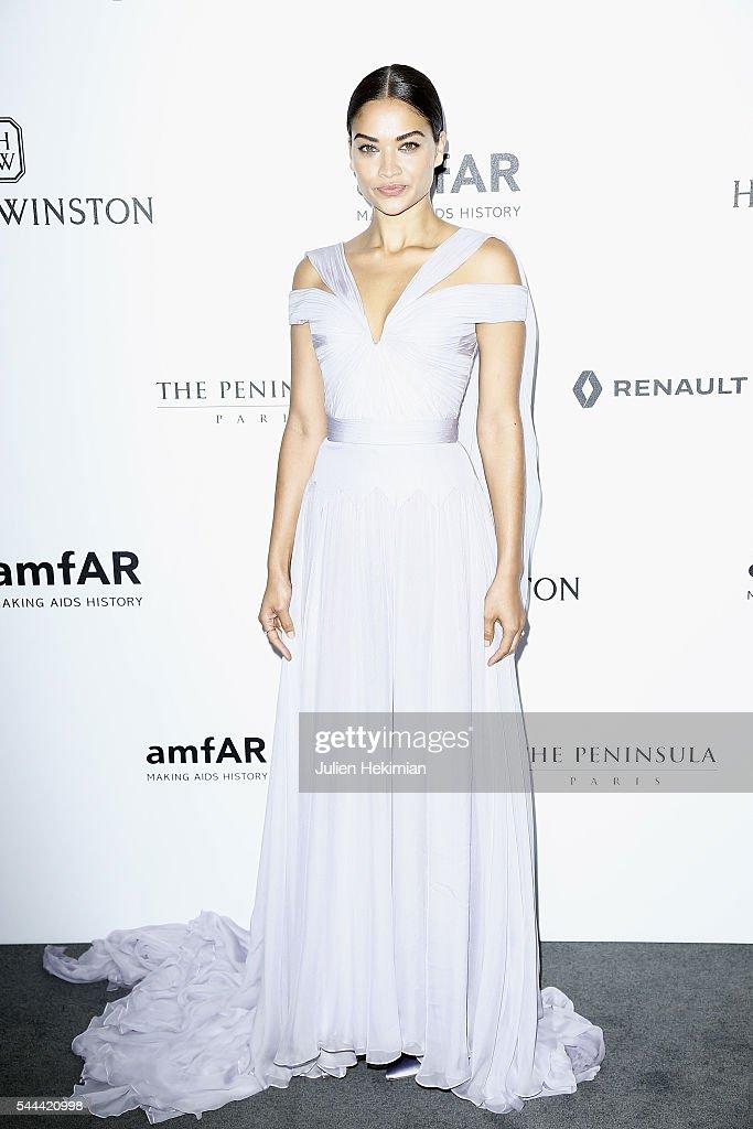 Shanina Shaik attends the Amfar Paris Dinner at The Peninsula Hotel on July 3 2016 in Paris France