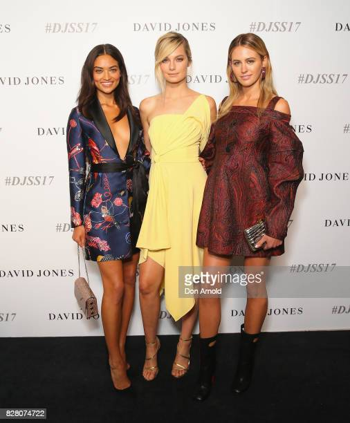 Shanina Shaik Bridget Malcolm and Jesinta Franklin arrive ahead of the David Jones Spring Summer 2017 Collections Launch at David Jones Elizabeth...