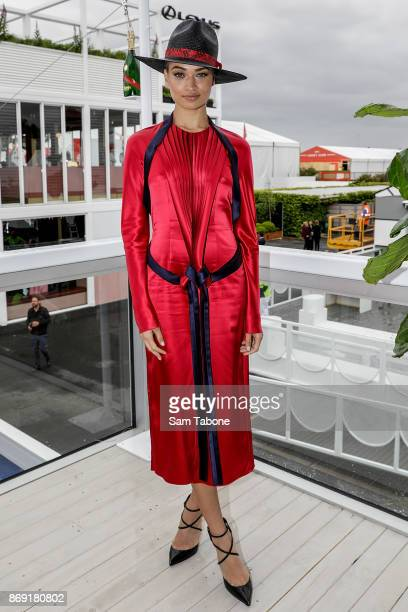 Shanina Shaik during the Melbourne Cup Carnival Media Preview Day at Flemington Racecourse on November 2 2017 in Melbourne Australia