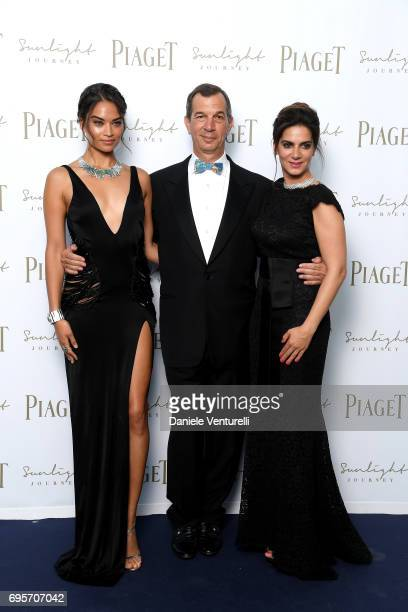 Shanina Shaik Philippe LeopoldMetzger and Chabi Nouri attend Piaget Sunlight Journey Collection Launch on June 13 2017 in Rome Italy