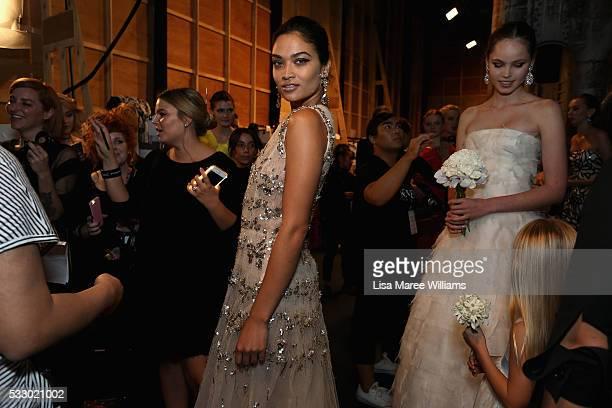 Shanina Shaik poses backstage ahead of the Oscar de la Renta show presented by Etihad Airways at MercedesBenz Fashion Week Resort 17 Collections at...