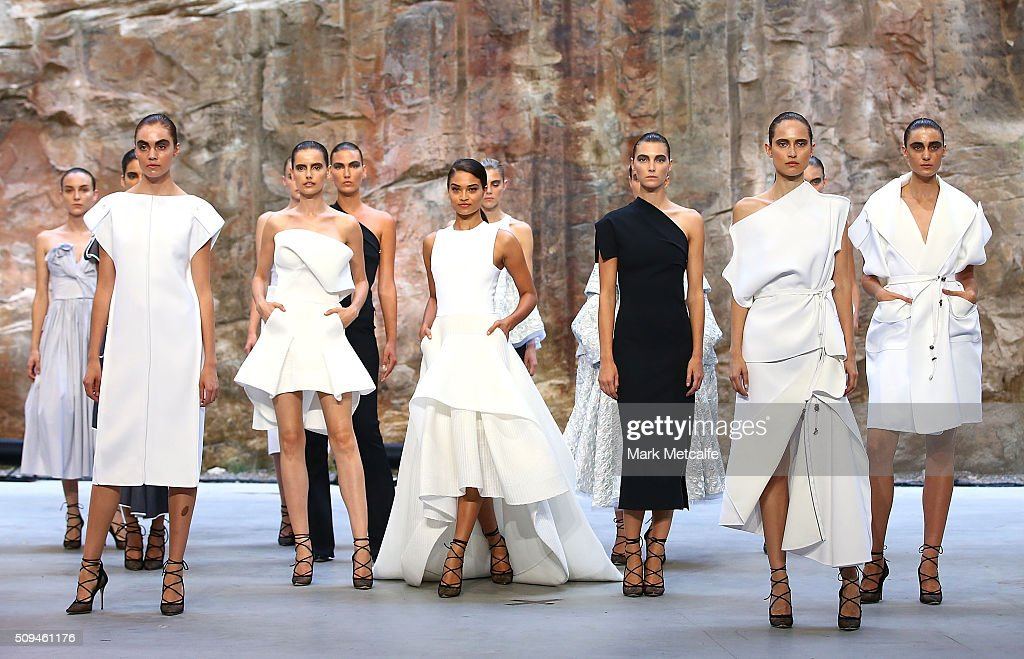 <a gi-track='captionPersonalityLinkClicked' href=/galleries/search?phrase=Shanina+Shaik&family=editorial&specificpeople=5556870 ng-click='$event.stopPropagation()'>Shanina Shaik</a> showcases designs by Maticevski during rehearsal ahead of the Myer AW16 Fashion Launch on February 11, 2016 in Sydney, Australia.