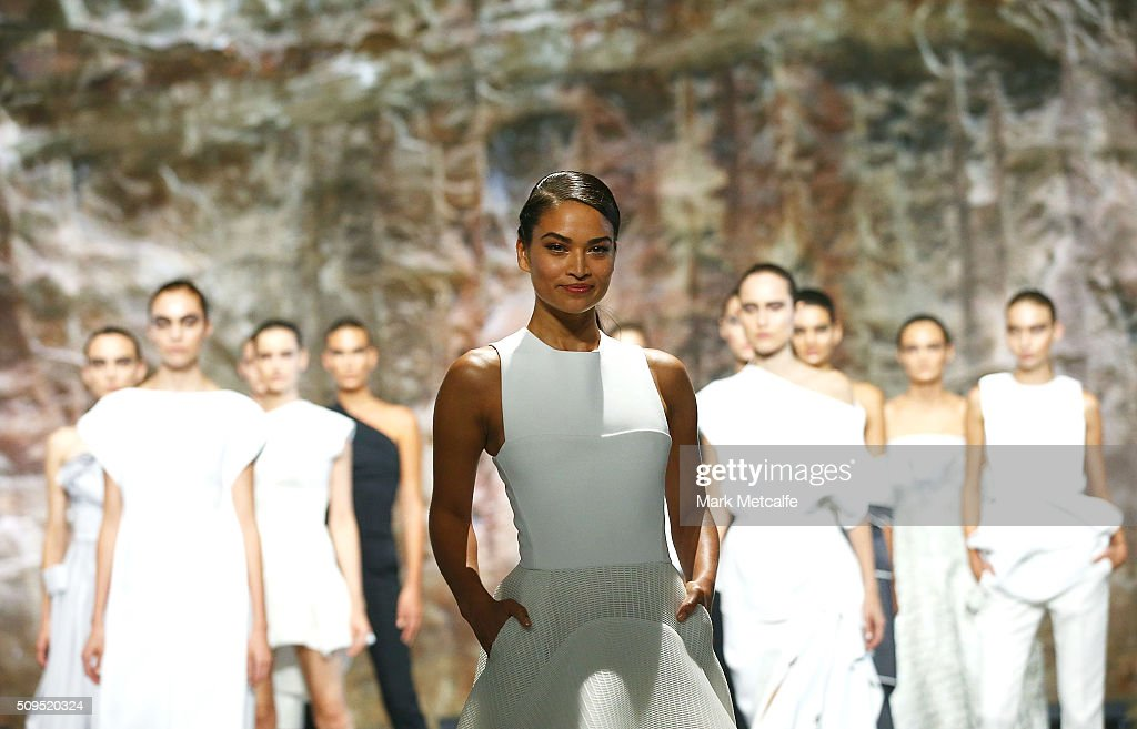 Shanina Shaik showcases designs by Maticevski on the runway at the Myer AW16 Fashion Launch on February 11, 2016 in Sydney, Australia.