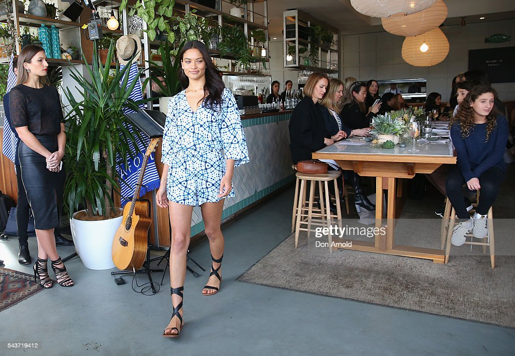 <a gi-track='captionPersonalityLinkClicked' href=/galleries/search?phrase=Shanina+Shaik&family=editorial&specificpeople=5556870 ng-click='$event.stopPropagation()'>Shanina Shaik</a> showcases designs during the Seafolly Spring 2016 Campaign Launch at North Bondi Fish on June 30, 2016 in Sydney, Australia.