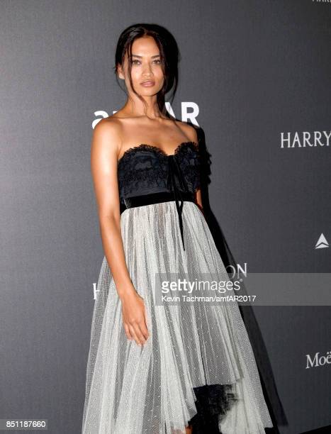 Shanina Shaik walks the red carpet at the amfAR Gala Milano on September 21 2017 in Milan Italy