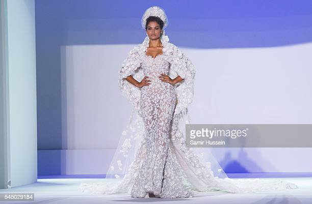 Shanina Shaik walks the runway as the bride during the Ralph Russo Haute Couture Fall/Winter 20162017 show as part of Paris Fashion Week on July 4...