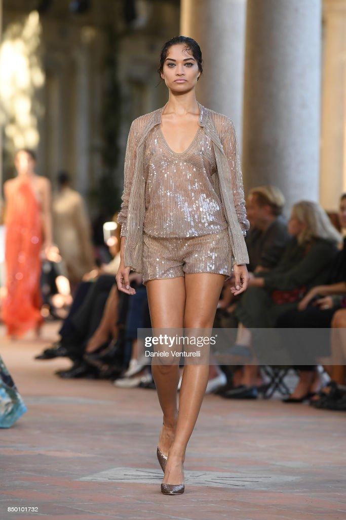 Shanina Shaik walks the runway at the Alberta Ferretti show during Milan Fashion Week Spring/Summer 2018 on September 20, 2017 in Milan, Italy.