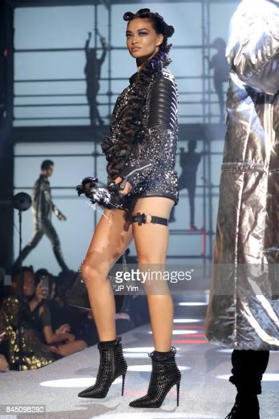 Shanina Shaik walks the runway at the Philipp Plein fashion show during New York Fashion Week The Shows at Hammerstein Ballroom on September 9 2017...
