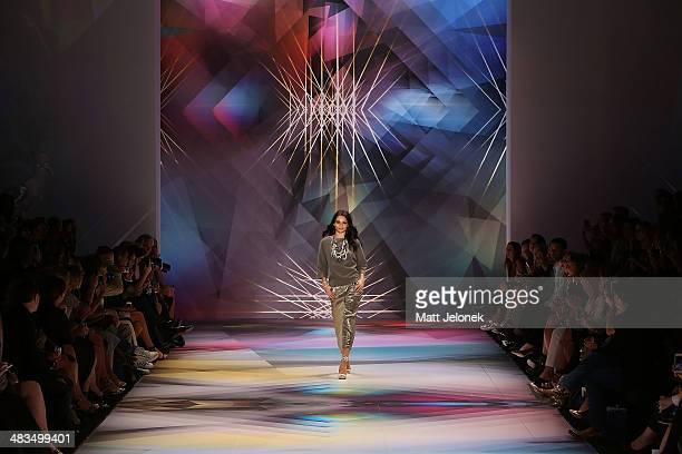 Shanina Shaik walks the runway at the Swarovski show at MercedesBenz Fashion Week Australia 2014 at on April 9 2014 in Sydney Australia