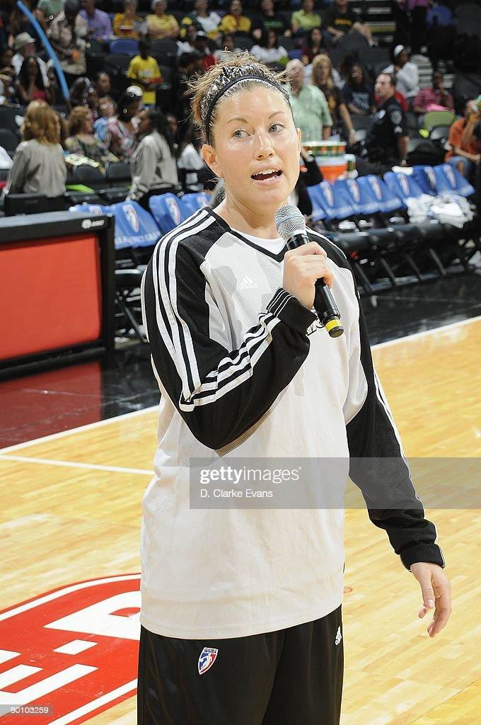 Shanna Crossley of the San Antonio Silver Stars talks to the crowd prior to the game against the Los Angeles Sparks on August 21 2009 at the ATT...