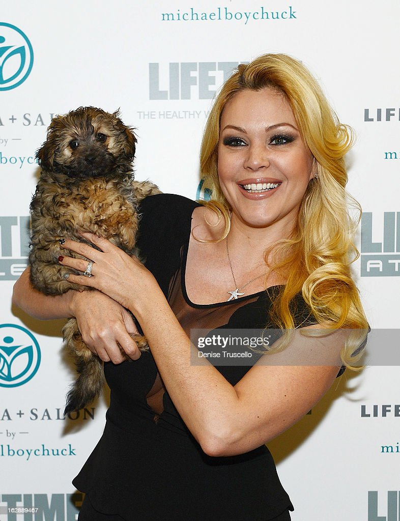 <a gi-track='captionPersonalityLinkClicked' href=/galleries/search?phrase=Shanna+Moakler&family=editorial&specificpeople=243047 ng-click='$event.stopPropagation()'>Shanna Moakler</a> poses for photos with Charlie the dog from the Animal Foundation at the grand opening of Michael Boychuck's LifeSpa + Salon at Life Time Athletic on February 28, 2013 in Las Vegas, Nevada.