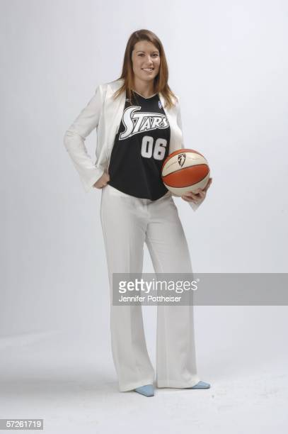 Shanna Zolman poses for a portrait after being choosen by the San Antonio Silver Stars during the 2006 WNBA Draft on April 5 2006 at the Boston...
