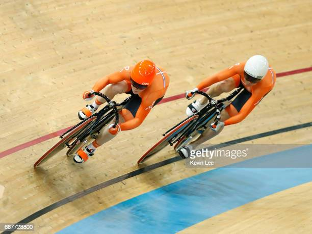 Shanne Braspennincx and Kyra Lamberink of Netherlands compete during the first round of the Women's Team Sprint on day one of the 2017 UCI Track...