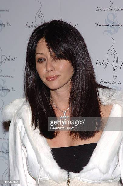 Shannen Doherty during Olympus Fashion Week Fall 2005 Baby Phat Arrivals at Skylight Studio in New York City New York United States