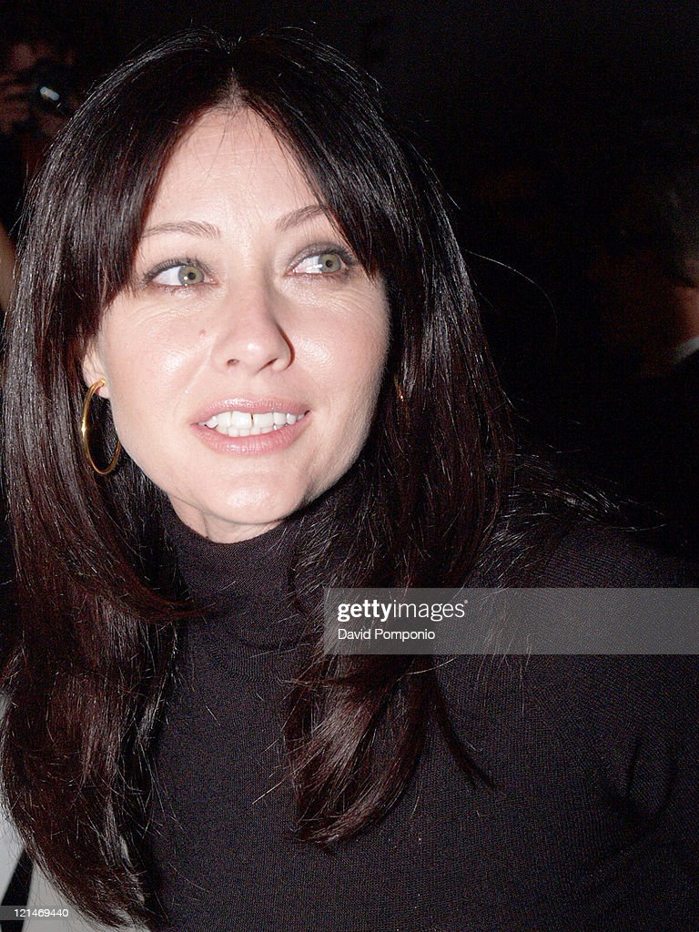 Shannen Doherty during Olympus Fashion Week Fall 2005 - Joseph Abboud - Front Row and Backstage at Bryant Park in New York City, New York, United States.