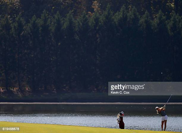 Shannon Aubert of Stanford plays a shot on the eighth hole during day 1 of the 2016 East Lake Cup at East Lake Golf Club on October 31 2016 in...