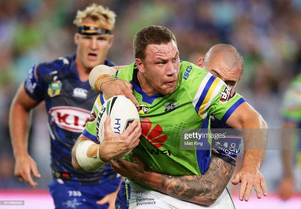 Shannon Boyd of the Raiders is tackled during the round nine NRL match between the Canterbury Bulldogs and the Canberra Raiders at ANZ Stadium on April 29, 2017 in Sydney, Australia.