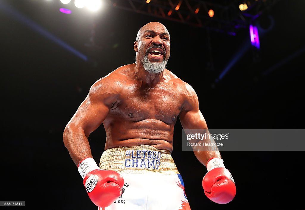 Shannon Briggs celebrates victory over Emilio Ezequiel Zarate during a Heavyweight contest at The O2 Arena on May 21, 2016 in London, England.
