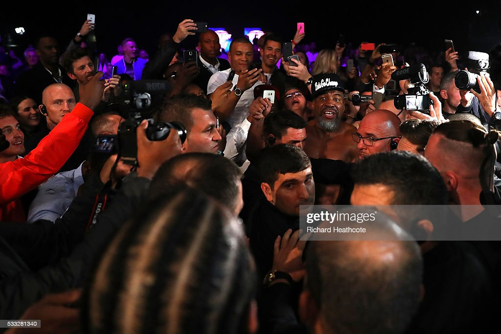 Shannon Briggs of the United States reacts after the Heavyweight fight between David Haye of England and Arnold Gjergjaj of Switzerland at The O2 Arena on May 21, 2016 in London, England.