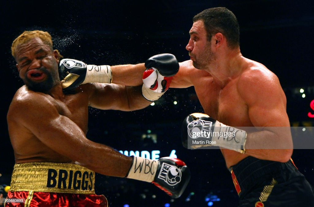 <a gi-track='captionPersonalityLinkClicked' href=/galleries/search?phrase=Shannon+Briggs&family=editorial&specificpeople=2107437 ng-click='$event.stopPropagation()'>Shannon Briggs</a> of USA (L) exchanges punches with <a gi-track='captionPersonalityLinkClicked' href=/galleries/search?phrase=Vitali+Klitschko&family=editorial&specificpeople=206402 ng-click='$event.stopPropagation()'>Vitali Klitschko</a> (R) of Ukraine during the WBC Heavyweight World Championship fight between <a gi-track='captionPersonalityLinkClicked' href=/galleries/search?phrase=Vitali+Klitschko&family=editorial&specificpeople=206402 ng-click='$event.stopPropagation()'>Vitali Klitschko</a> of Ukraine and <a gi-track='captionPersonalityLinkClicked' href=/galleries/search?phrase=Shannon+Briggs&family=editorial&specificpeople=2107437 ng-click='$event.stopPropagation()'>Shannon Briggs</a> of USA at O2 world on October 16, 2010 in Hamburg, Germany.