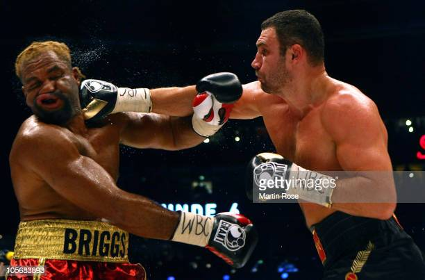 Shannon Briggs of USA exchanges punches with Vitali Klitschko of Ukraine during the WBC Heavyweight World Championship fight between Vitali Klitschko...