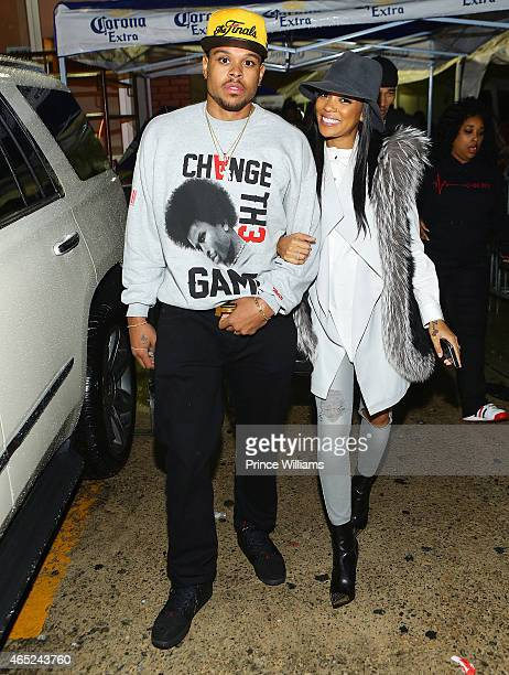 Shannon Brown and Monica attend Compound on February 21 2015 in Atlanta Georgia