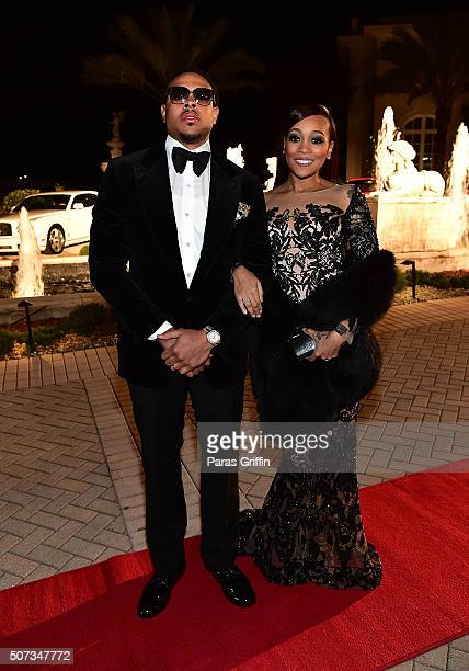 Shannon Brown and Monica Brown attend Rick Ross' 40th Birthday Celebration on January 28 2016 in Fayetteville Georgia