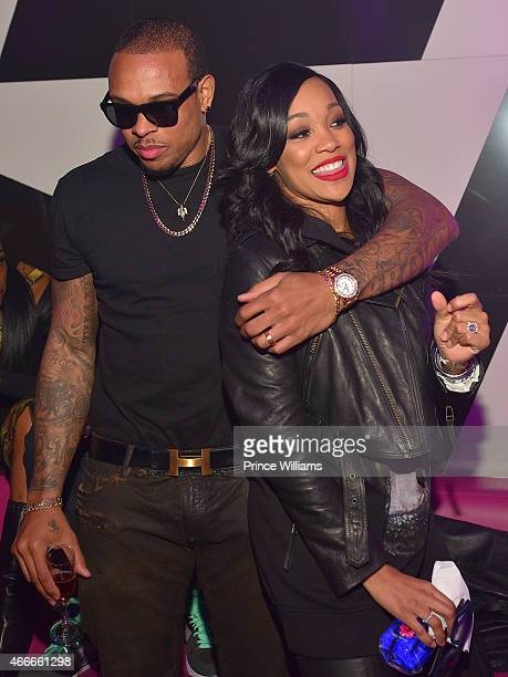 Shannon Brown and Monica Brown attend the K Michelle and Monica Concert Afterparty at Gold Room on March 12 2015 in Atlanta Georgia