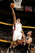 Shannon Brown of the Cleveland Cavaliers takes it to the hoop on a fast break play against Jeff Foster of the Indiana Pacers March 11 2007 at The...