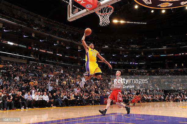Shannon Brown of the Los Angeles Lakers goes up for a dunk against the Houston Rockets at Staples Center on February 1 2011 in Los Angeles California...