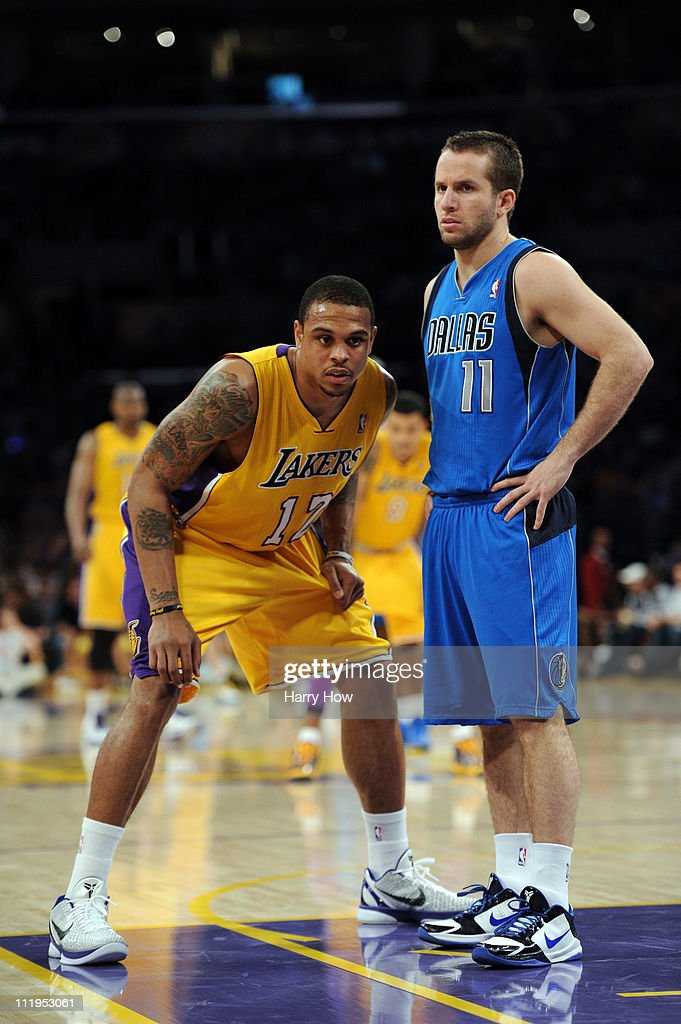 Shannon Brown of the Los Angeles Lakers guards Jose Barea of the Dallas Mavericks at Staples Center on March 31 2011 in Los Angeles California NOTE...