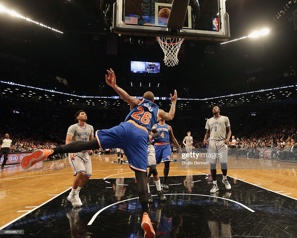 Shannon Brown #26 of the New York Knicks attempts to score two against the Brooklyn Nets during the second half at the Barclays Center on April 15, 2014 in the Brooklyn borough of New York City.