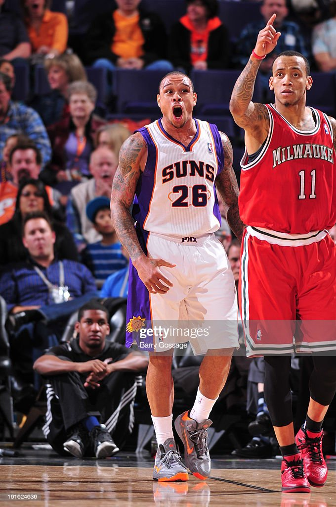 Shannon Brown #26 of the Phoenix Suns celebrates a shot against the Milwaukee Bucks on January 17, 2013 at U.S. Airways Center in Phoenix, Arizona.