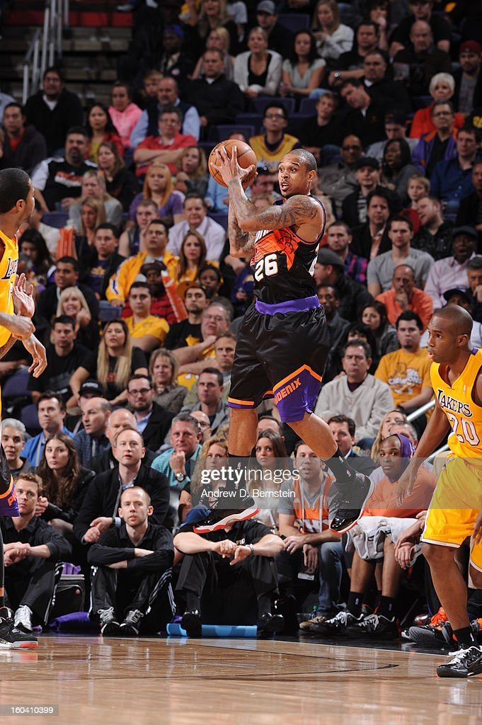 Shannon Brown #26 of the Phoenix Suns goes for a jump shot during the game between the Los Angeles Lakers and the Phoenix Suns at US Airways Center on January 30, 2013 in Phoenix, Arizona.
