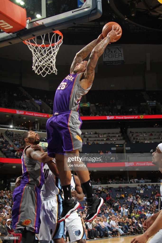 Shannon Brown #26 of the Phoenix Suns grabs a rebound against the Memphis Grizzlies on February 5, 2013 at FedExForum in Memphis, Tennessee.