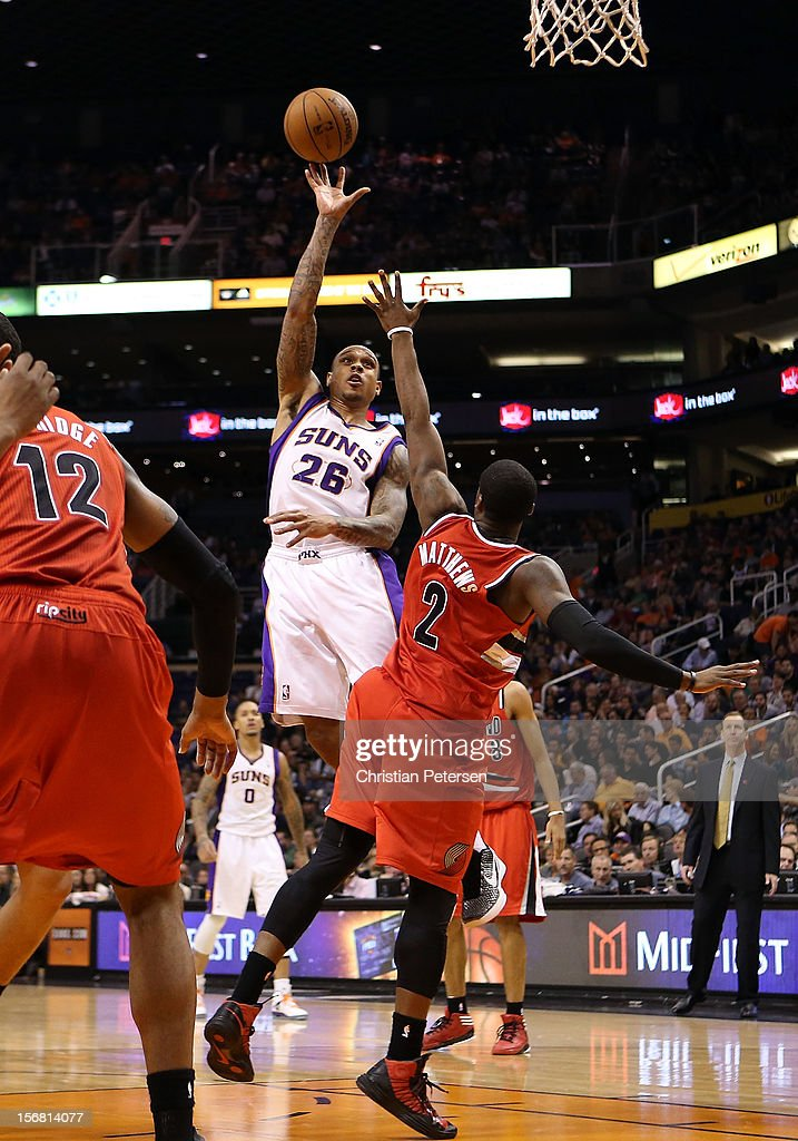 Shannon Brown #26 of the Phoenix Suns puts up a shot against the Portland Trail Blazers during the NBA game at US Airways Center on November 21, 2012 in Phoenix, Arizona. The Suns defeated the Trail Blazers 114-87.