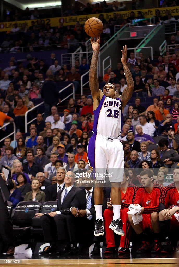Shannon Brown #26 of the Phoenix Suns puts up a three point shot against the Portland Trail Blazers during the NBA game at US Airways Center on November 21, 2012 in Phoenix, Arizona. The Suns defeated the Trail Blazers 114-87.