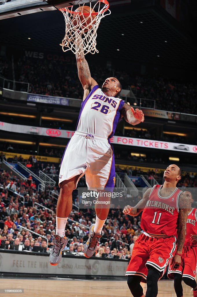 Shannon Brown #26 of the Phoenix Suns puts up the easy one against the Milwaukee Bucks on January 17, 2013 at U.S. Airways Center in Phoenix, Arizona.