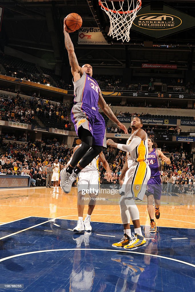 Shannon Brown #26 of the Phoenix Suns rises for a dunk against the Indiana Pacers on December 28, 2012 at Bankers Life Fieldhouse in Indianapolis, Indiana.