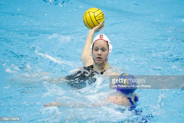 Shannon Cleary of Stanford University in action against Alexis Angermund of UCLA during the Division I Women's Water Polo Championship held at the IU...