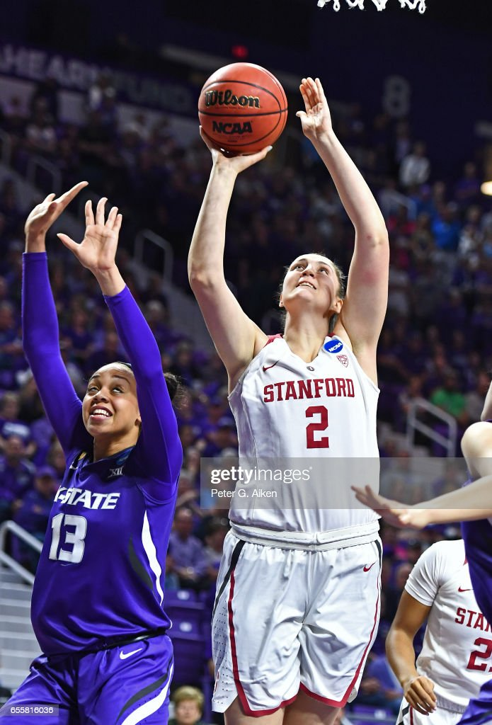 Shannon Coffee #2 of the Stanford Cardinal scores a basket against Eternati Willock #13 of the Kansas State Wildcats during the second round of the 2017 NCAA Women's Basketball Tournament at Bramlage Coliseum on March 20, 2017 in Manhattan, Kansas.